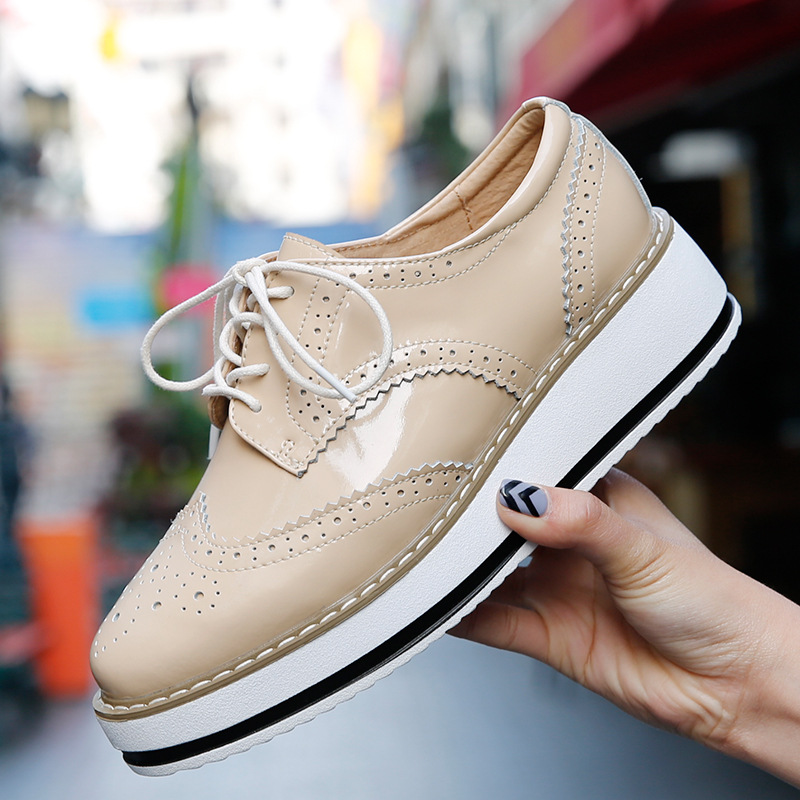 Women Platform Oxfords Brogue Flats Shoes Patent Leather Lace Up Pointed Toe Luxury Brand Beige Red Black Pink Creepers<br><br>Aliexpress