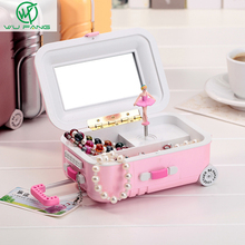 Free shipping Brand New Fashion music box jewelry box Colorful Design Lovely Gift beautiful with mirror and Ballet girl style(China)