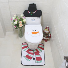 3 Pcs/set] Cute Christmas snowman Toilet Cover Sets for Festive Christmas Anti-skid pad Eco-Friendly Bathroom Accessories