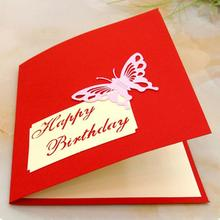 New Arrival  Vivid 3D Birthday Cake Shaped Happy Birthday Card Good Gift for Children