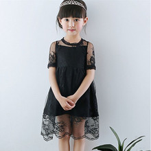 3T to 9T kids girls fashion summer lace overlay tulle princess party dresses children new black white chiffon dress clothes(China)