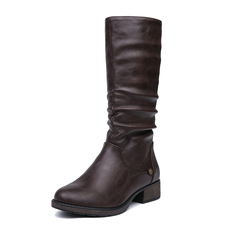 IMG_5618vAIMEIGAO New Autumn Winter Mid-calf Women Boots Flats Heels Warm Plush PU Leather Boots High Quality Knee High Boots