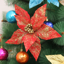 10pcs/lot 24cm 2layers flannelette triangularis leaves dusting Christmas Flower for Christmas Tree decoration(China)
