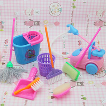 9pcs/set Kitchen Home cleaning tool floor broom toy for Toddler kid girl pretend play furniture Mini housekeeping brush Children
