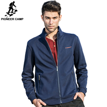 Pioneer Camp brand clothing fleece jacket men Spring winter fleece dark blue coat men top quality male casual warm jacket 520035