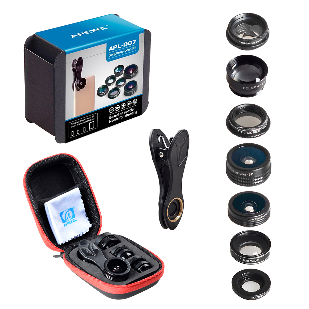 APEXEL 7 in 1 Phone Camera Lens Kit Fish Eye Wide Angle/macro Lens CPL Kaleidoscope and 2X telephoto zoom Lens for iPhone5/6s/7 15