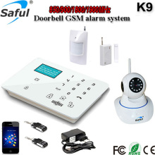 Hot sale Wireless GSM SMS Home Security Alarm System K9 supports 99 defend zones with HD 720P IP camera
