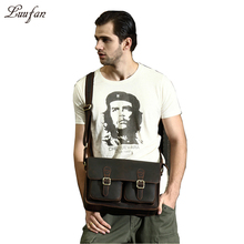"Men crazy horse genuine leather shoulder bag Thick Real leather messenger bag 13"" briefcase flap cow leather crossbody bag"