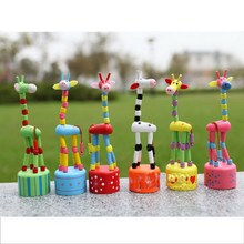 New Arrival 1 Pcs Baby Funny Wooden Toys Developmental Dancing Standing Rocking Giraffe Animal Toys Multi Color