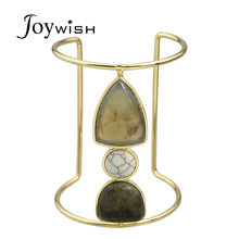 New Arrival Boho Big Bangles Pulseras Gold-Color With White Yellow Stone Cuff Bangle Bracelets For Women