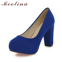 Meotina Shoes Women Pumps Thick High Heels Round Toe High Heels Platform Pumps Shoes Sexy Party Shoes Blue Red Large Size 42 43