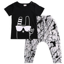 Baby boy clothes2016 Brand summer kids clothes sets t-shirt+pants suit clothing set Graffiti Printed Clothes newborn sport suits