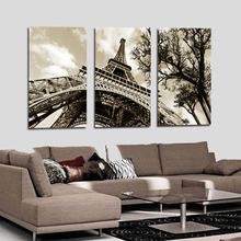 3Pcs/Set Modern Picture Canvas Painting Wall Pictures For Living Room Decoration Paris City Eiffel Tower No Frame(China)