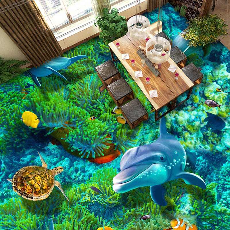Custom 3D Private Floor Wallpaper Mural Cartoon Undersea World Turtle Coral Dolphin Kids Bedding Room Self-adhesive Wall Paper<br><br>Aliexpress
