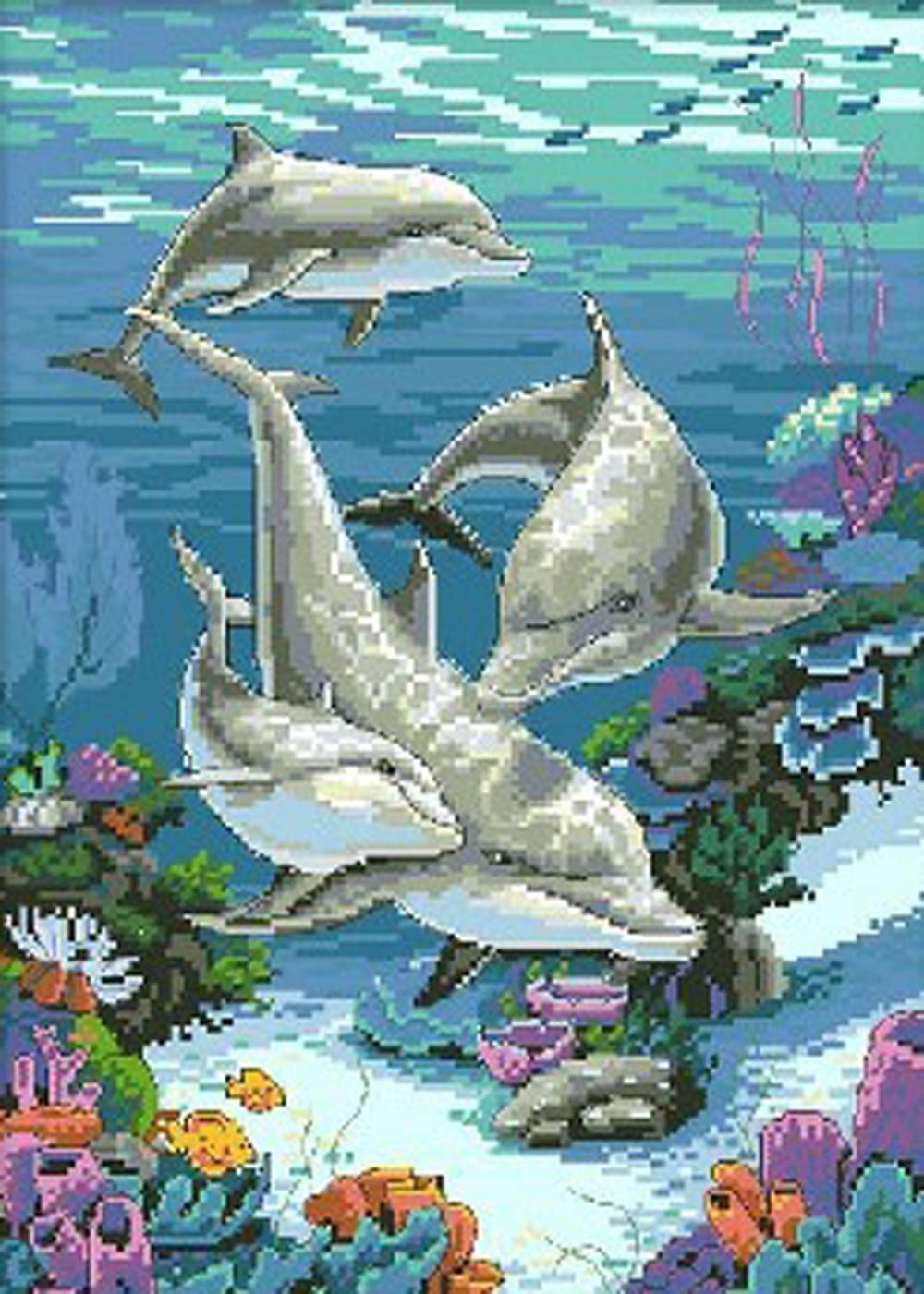 Фото вышивки с дельфинами