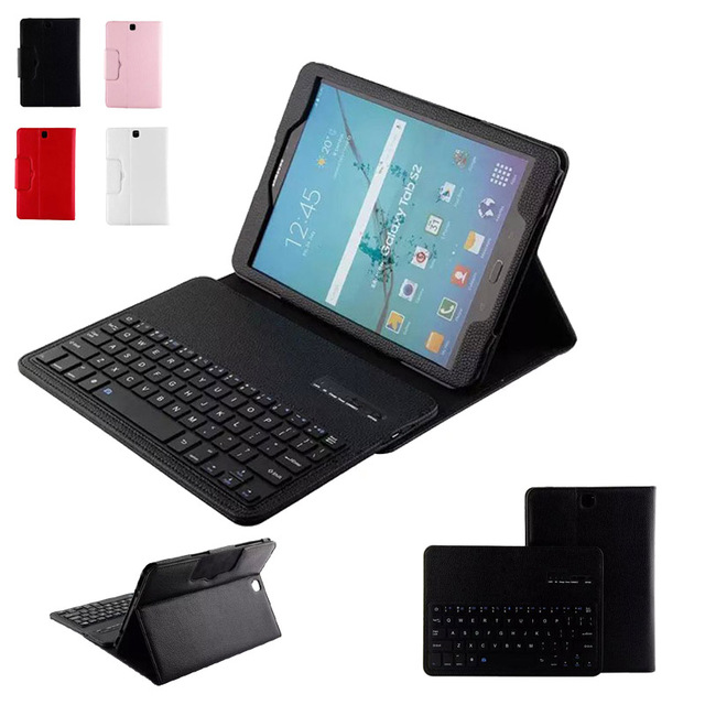 For Samsung Galaxy Tab S2 9.7 Inch Tablet T810 T815 DETACHABLE QWERTY Wireless Bluetooth Keyboard Portfolio Leather Stand Case<br>
