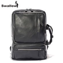 SWALLOW Multifunctional Double Handle Leather Backpack Men Waterproof Travel Backpack For 14 inch Laptop Backpack Casual Daypack