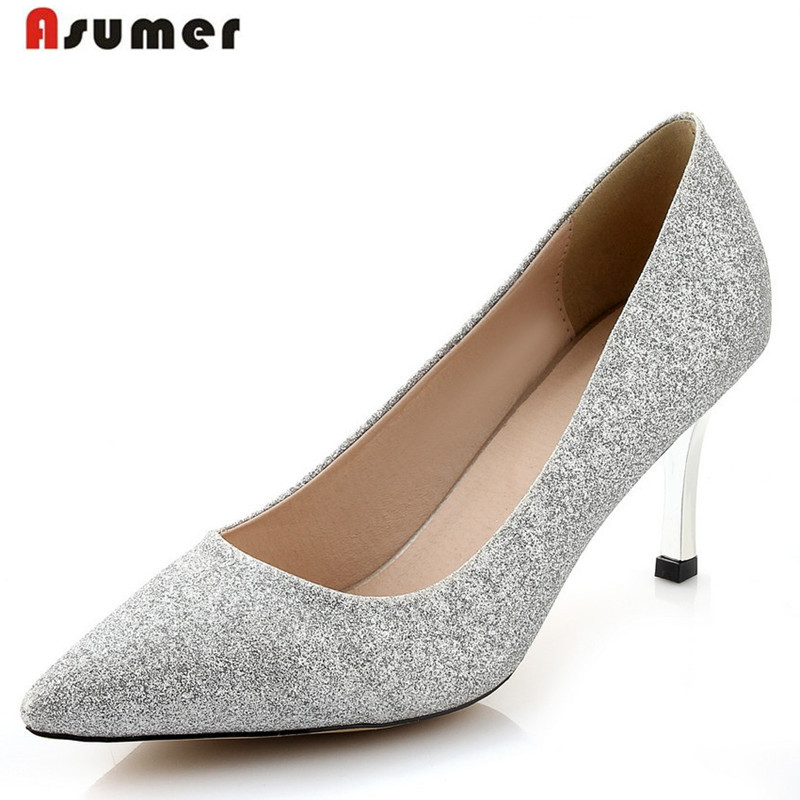 big size 34-43 fashion hot sale women pumps high quality gold silver bridal shoes pointed nubuck leather high heeels shoes<br><br>Aliexpress