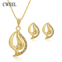 CWEEL Jewelry Sets Women Bridal African Jewelry Set Party Trendy Italian Costume Jewellery Indian Gold Color Necklace Set(China)