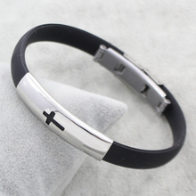 Men Fashion Jewelry Stainless Steel Jewelry Bracelet Bangles Punk Women Man Black Silicone Cross Designs Steel Color Charms Gift