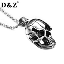 D&Z Punk Gothic Skeleton Necklace Casting Stainless Steel Skull Pendants Necklaces for Men Jewelry