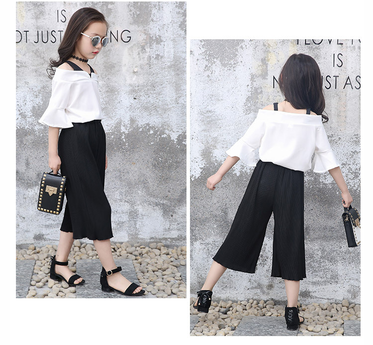 Elegant 2PCS Girl Clothing Sets Soft Chiffon Pants+Blouse School Children  Summer Suit Girls Boutique Outfits 8 10 12 14 Years
