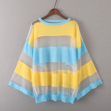 2017 summer new perspective mesh yarn color striped sweater