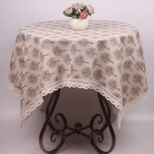 Japanese Korean Tree Pattern Fresh Summer Cotton Linen Lace Tablecloth / Custom Size Durable Beige Table Covers