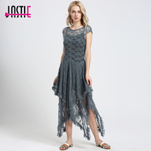 Jastie Boho People hippie Style Asymmetrical embroidery Sheer lace dresses double layered ruffled trimming low V-back (No lining