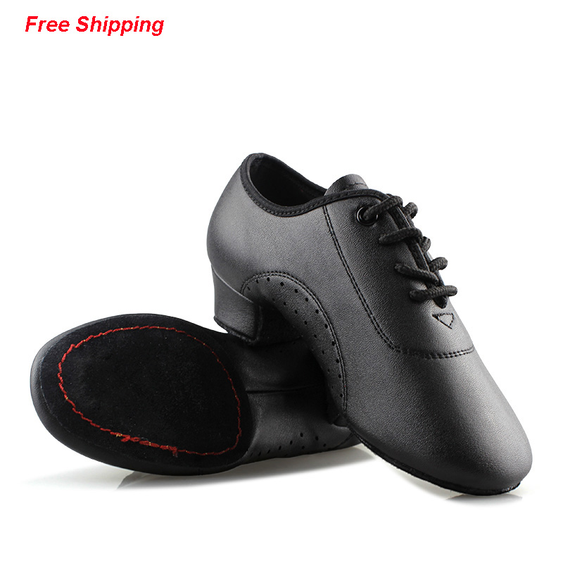 Latin Dance Shoes Boy Men Professional Leather Latin Shoes Black for Kids Low-heeled