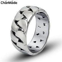Cool Sales Punk Rock Jewelry Love Mechanic Link Chain 9mm Band Mens Ring Stainless Steel Accessory Birthday Gift Male Anel R315