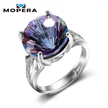 Mopera Luxury 13mm 8ct Natural Rainbow Fire Mystic Quartz Ring Cocktail For Women 925 Sterling Silver Vintage Fashion Jewelry(China)