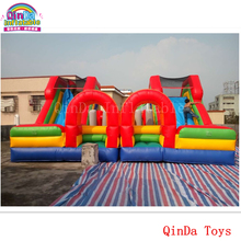 Children amusement park equipment mini castle with slide ,7*7m inflatable bouncy slide for kids play(China)