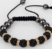 Min.$15 Mixed Order+Free Shipping+Gift.Black 10mm micro pave cz Disco ball Beads ESNS Crystal Shamballa Bracelet Men Jewelry.(China)