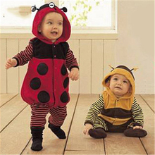 Autumn Winter Baby Bee ladybug crawling baby pants Rompers Hoodies Jumpsuit baby girls boys romper newborn toddle clothing L2012