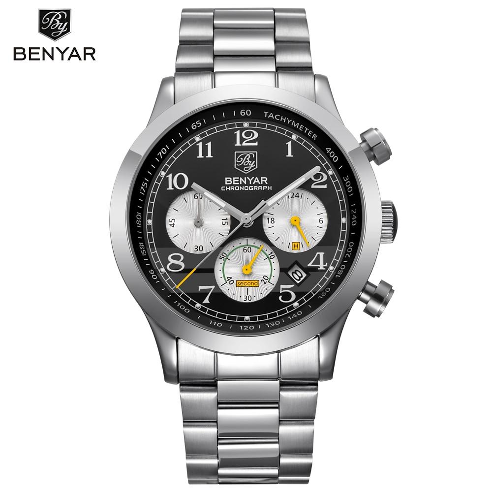 New Arrival Sport Mens Watches Top Brand Luxury Business Waterproof Chronograph Quartz Men Watch Benyar Male Clock Reloj Hombre<br>