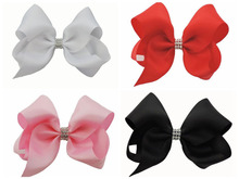 50 pcs 18CM solid colour ribbon ABC hair bows clips with a row CZ diamond Party Pageant headwear Accessories HD3492(China)