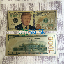 Hotsale 10pcs/lot USA President Donald Trump US Dollar 1000 Gold Banknote Set 24k Gold Plated Bill Gift With Certificate(China)