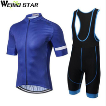 WEIMOSTAR Pro Team Sports Men's Cycling Jersey Sets Short Sleeve Ropa Ciclismo Bike Maillot Bicycle Bib GEL Shorts Padded Blue(China)