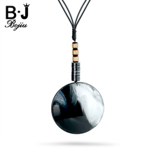 BOJIU Lady Acrylic Long Necklace Round Pendant Adjustable Length Rope Chain Necklaces Women Charm Clothes Decorations NK1035(China)