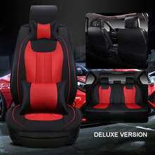 Luxury leather car seat cover universal seat Covers for Peugeot 307 206 308 407 207 406 408 cars cushion car accessories style(China)