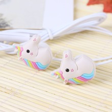 Special Unicorns Cartoon Earphones Colorful Rainbow Horse In-ear Earphone 3.5mm Earbuds With Mic Mini Earphone For Smartphone(China)