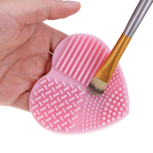 Heart Shape Clean Makeup Brushes Wash Brush Silicone Glove Scrubber Board Make Up Brush Cleaner Cosmetic Cleaning Washing Tool