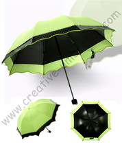 3pcs/lot colour option super light folding mini umbrella 5 times black coating Anti-UV two layers olive green lace parasol(China)