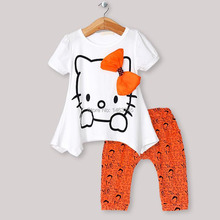 Children Clothes Fashion Cartoon Girl Summer Clothing Suitable For 2 To 6 Years Old Girl T-Shirt + Shorts Girl'S Suit 2~6 T