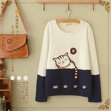 Spring Autumn Mori Girl Kittys Embroidery Pullovers Cartoon Sweatshirt Women Kawaii Harajuku Female Tracksuits Sweatshirts U320