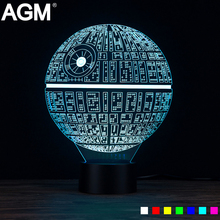 AGM Novelty Star Wars Death Star 3D Lamp Touch Table lamp 7 Colors Changing Desk LED USB Night Light Luminaria LED Kid Gift Toy