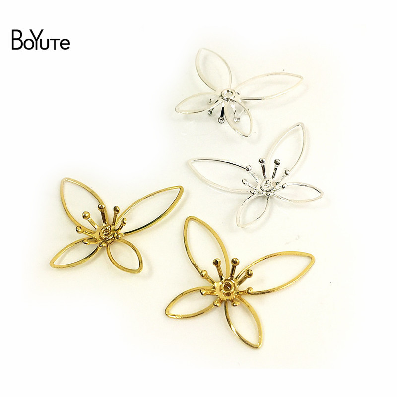BoYuTe 50Pcs Metal Brass Stamping Filigree Flower Accessories Parts for Bridal Hair Jewelry Making (7)