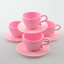 1 Set of 4pcs Silicone Cupcake Cups Muffin Baking Cake Tea Teacup Mold + 4pcs Saucers CU11617