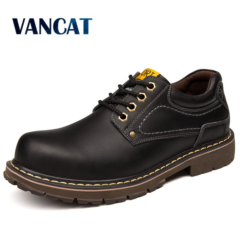VANCAT Men Genuine Leather Casual Shoes Leather Brand Men Shoes Work Safety Boots Designer Men Flats Men Work &amp; Safety Shoes<br>